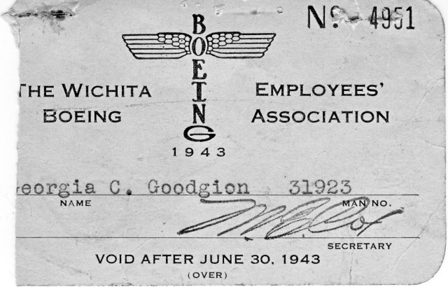 Mother's employment card at Boeing Wichita